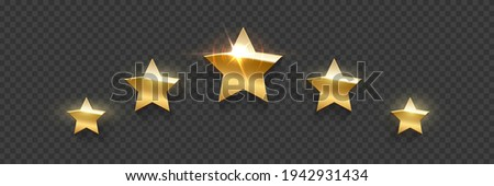 Five golden award stars on transparent background. Gold prize elements. Champion glory in competition vector illustration. Hollywood fame in film and cinema or championship in sport.
