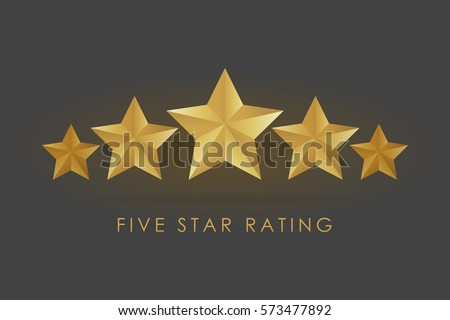 five golden rating star vector