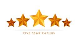 Five golden rating star vector illustration in white background.
