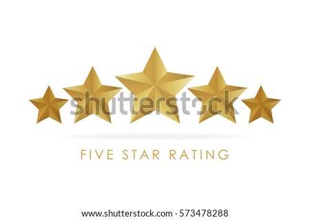 five golden rating star vector