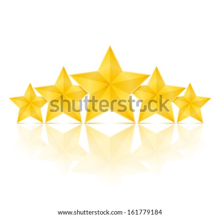 five golden stars with