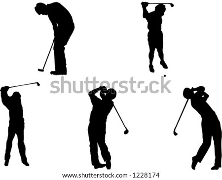 five golf silhouettes