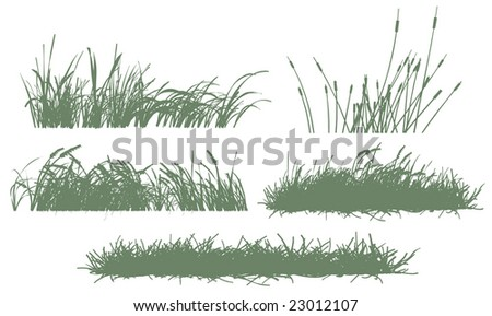 five grass silhouettes