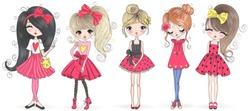 Five hand drawn beautiful cute cartoon amazing fashion girls. Vector illustration.