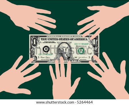 Five hands grab at a dollar bill