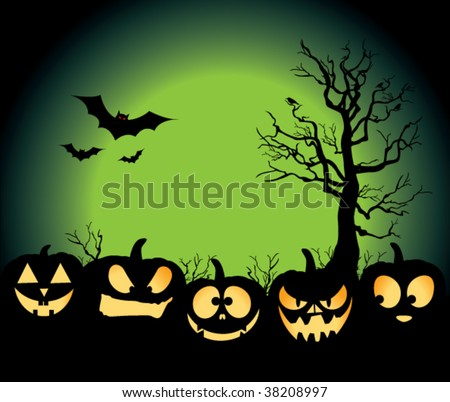 Five jack-o-lanterns sitting in a pumpkin patch, with bats, crows on a tree, and an evil green moon rising.