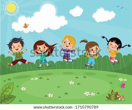five kids jumping in joy on a