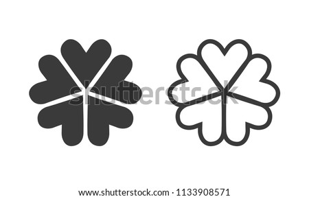 five leaf clover icons vector
