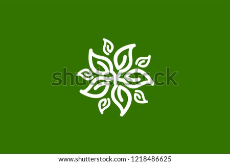 five leaves logo template with