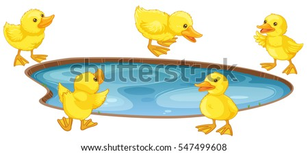 five little ducks around the...