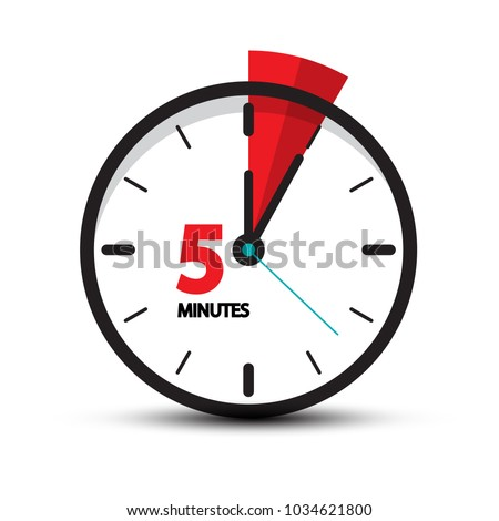 Five Minutes Clock Icon Isolated on White Background. 5 Minutes Vector Time Symbol. Stockfoto ©
