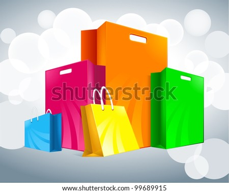 five multicolored packages