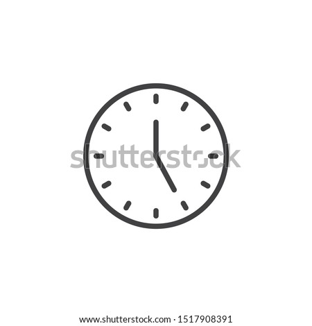 Five o'clock line icon. linear style sign for mobile concept and web design. Clock time outline vector icon. Symbol, logo illustration. Vector graphics Сток-фото ©