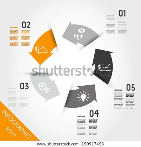five orange infographic arrows