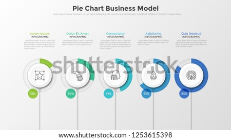 Five paper white elements with round progress bar and percentage indication placed in horizontal row. Pie chart business model. Modern clean vector illustration for presentation, brochure, report.