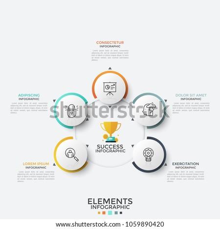 five paper white round elements