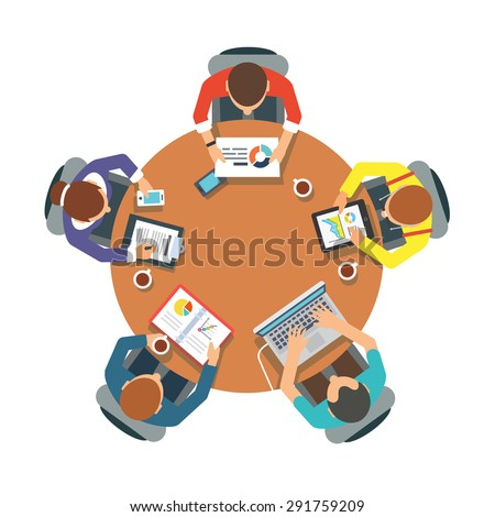 Five people team sitting and working together at the round table. Teamwork, brainstorming, startup. Flat vector illustration.