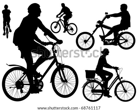 Five persons riding bicycles. Mountain, city, mono-wheel and tough guy kind  bikes. Black and white vector illustration.