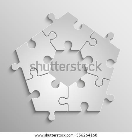 Five piece flat puzzle round infographic presentation. 5 step circle ...