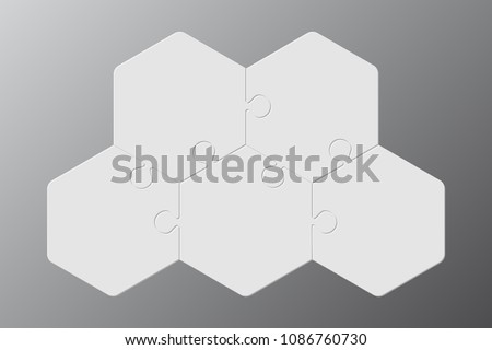 Five pieces puzzle hexagonal diagram. Hexagon business presentation infographic. 5 steps, parts, pieces of process diagram. Section compare banner. Jigsaw puzzle info graphic. Marketing strategy.