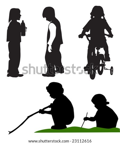 Five Playing Children. Silhouettes on the white background - stock vector