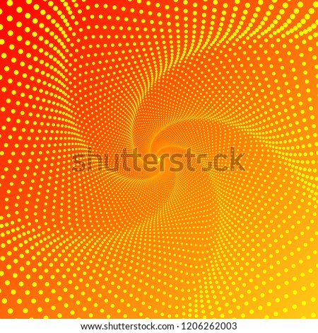 Five-pointed figure, a whirlwind, a spiral of lines and points on a gradient background. Smooth pattern of many dots on red orange background. Vector EPS