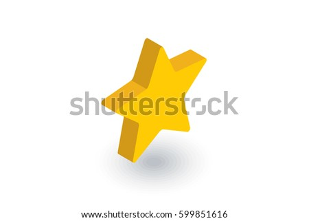 five-pointed star, bookmark isometric flat icon. 3d vector colorful illustration. Pictogram isolated on white background