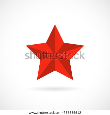 Five pointed vector star illustration on white background