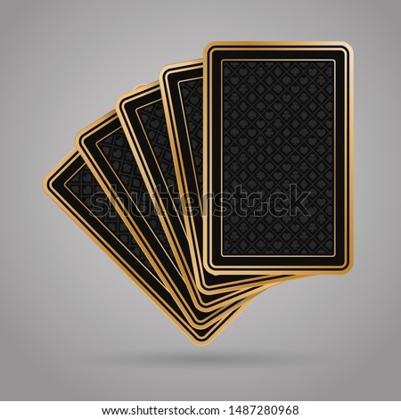 five poker playing cards on