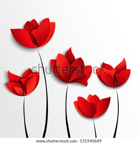 Five red paper flowers on white background