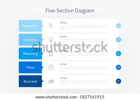 Five section infographic diagram, vertical process chart template with five heading banners in blue tone design