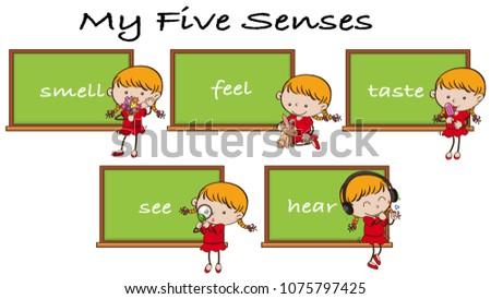 Five Senses on Blackboard with Girl Character illustration Foto stock ©