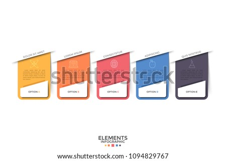 five separate colorful