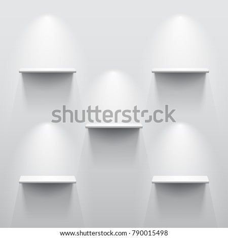 Five shelves on the wall with light and shadow in empty white room.