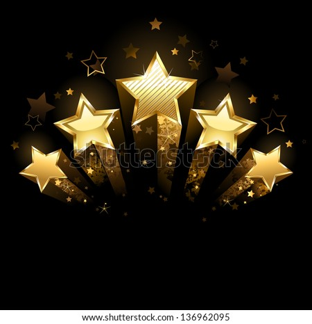 five shining stars of gold foil