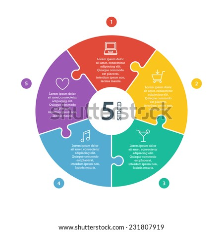 Five sided, numbered flat rainbow spectrum colored puzzle presentation infographic chart with explanatory text field isolated on white background. Vector graphic template.