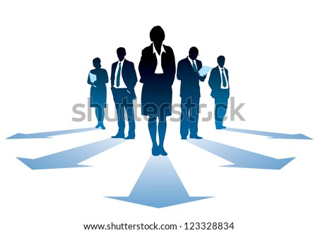 Five silhouettes of successful businesseople, everyone has own direction.