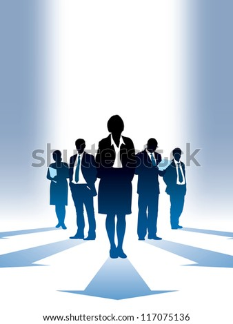 Five silhouettes of successful businesspeople, everyone has own direction.