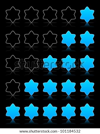 Five six-pointed stars ratings web 2.0 button. Blue shapes with shadow and reflection on black, vector, 10eps.