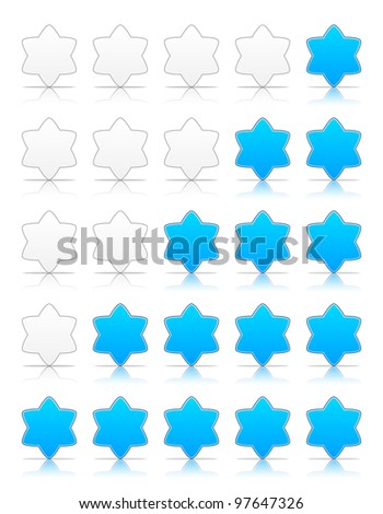 Five six-pointed stars ratings web 2.0 button. Blue shapes with shadow and reflection on white, 10eps.