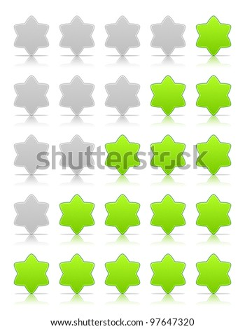 Five six-pointed stars ratings web 2.0 button. Green and gray shapes with shadow and reflection on white, 10eps.