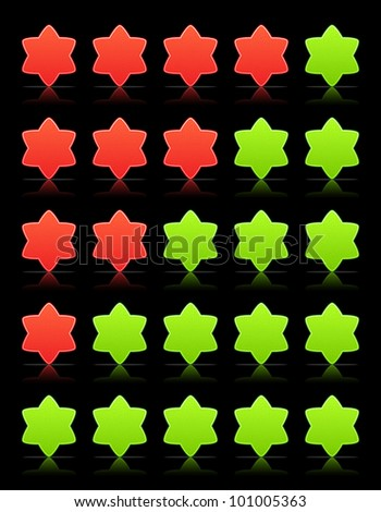 Five six-pointed stars ratings web 2.0 button. Green and red shapes with shadow and reflection on black, 10eps.