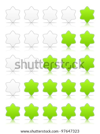 Five six-pointed stars ratings web 2.0 button. Green shapes with shadow and reflection on white, 10eps.