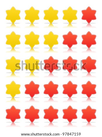 Five six-pointed stars ratings web 2.0 button. Red and yellow shapes with shadow and reflection on white, 10eps.