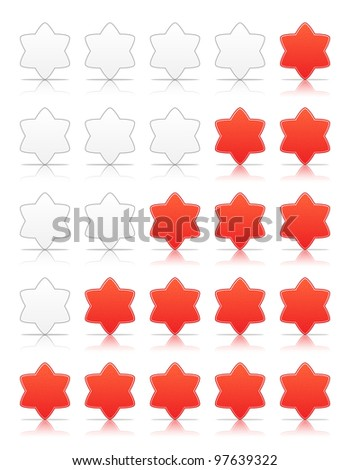 Five six-pointed stars ratings web 2.0 button. Red shapes with shadow and reflection on white, 10eps.