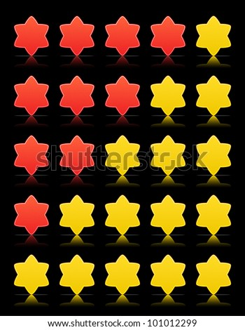 Five six-pointed stars ratings web 2.0 button. Yellow and red shapes with shadow and reflection on black, 10eps. - stock vector