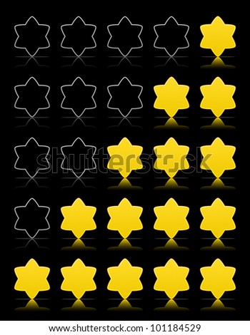 Five six-pointed stars ratings web 2.0 button. Yellow shapes with shadow and reflection on black, vector, 10eps.
