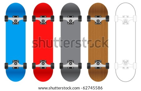 Five skateboards on a white background. Vector illustration.