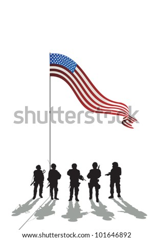Five soldiers silhouette and an American flag and reflection