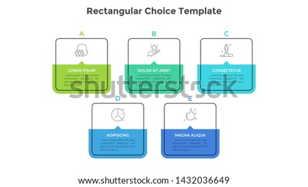 Five square elements or rectangular frames placed in horizontal row. Visualization of 5-stepped business process. Simple infographic design template. Flat vector illustration for presentation, report.